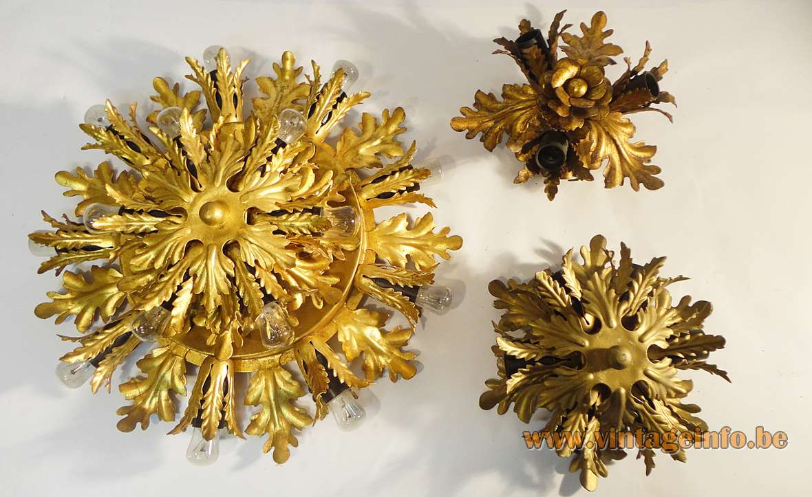 Banci Firenze sunburst flush mounts made of gold painted metal