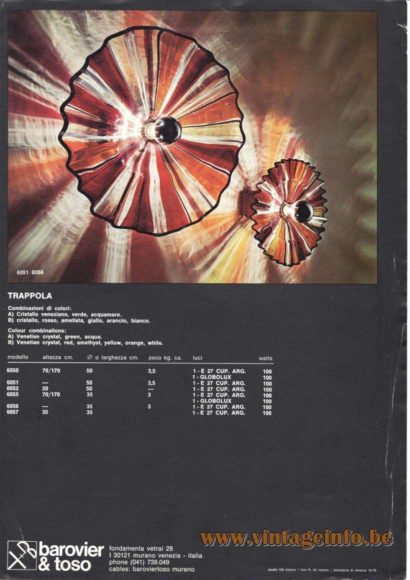 Barovier & Toso Trappola Lamp Brochure