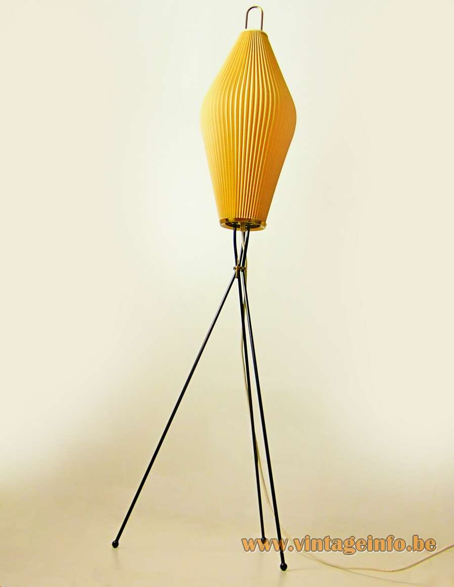 Celluloid tripod floor lamp black iron rods Rhodoïd folded lampshade cuff plastic East Germany 1950s 1960s