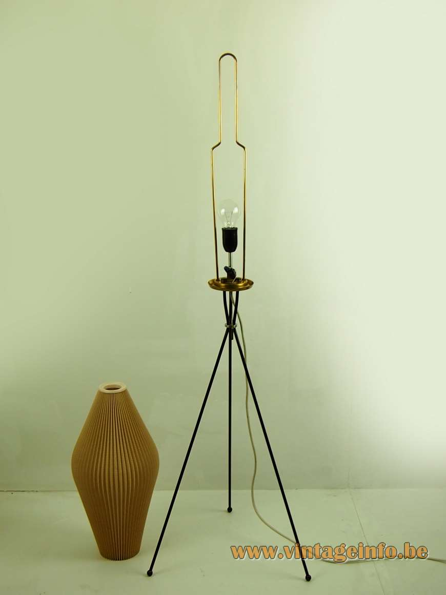 Celluloid tripod floor lamp iron rods Rhodoïd folded lampshade manchette cuff plastic East German MCM Mid-Century Modern
