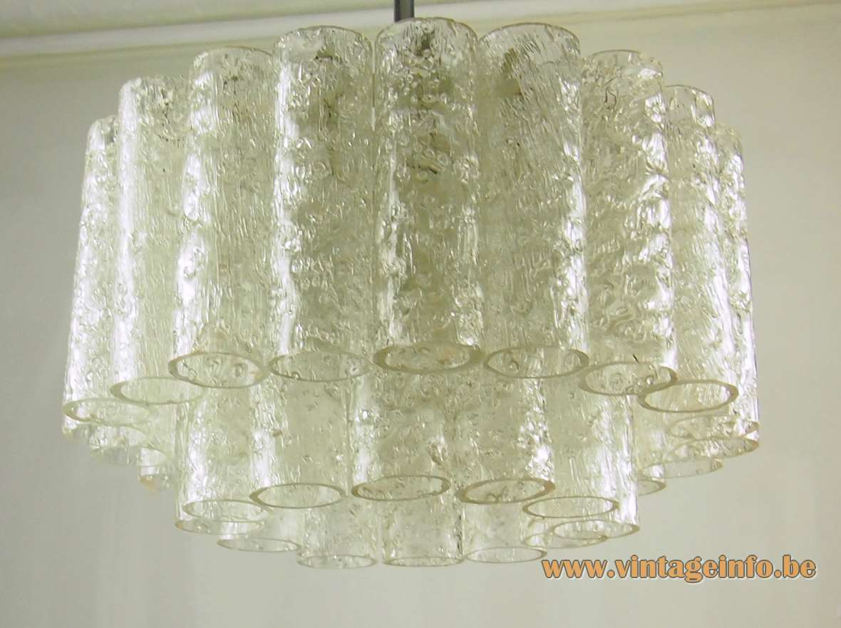 Doria 1960s glass tubes pendant lamp 32 embossed tubes white metal frame chrome rod 1970s Germany