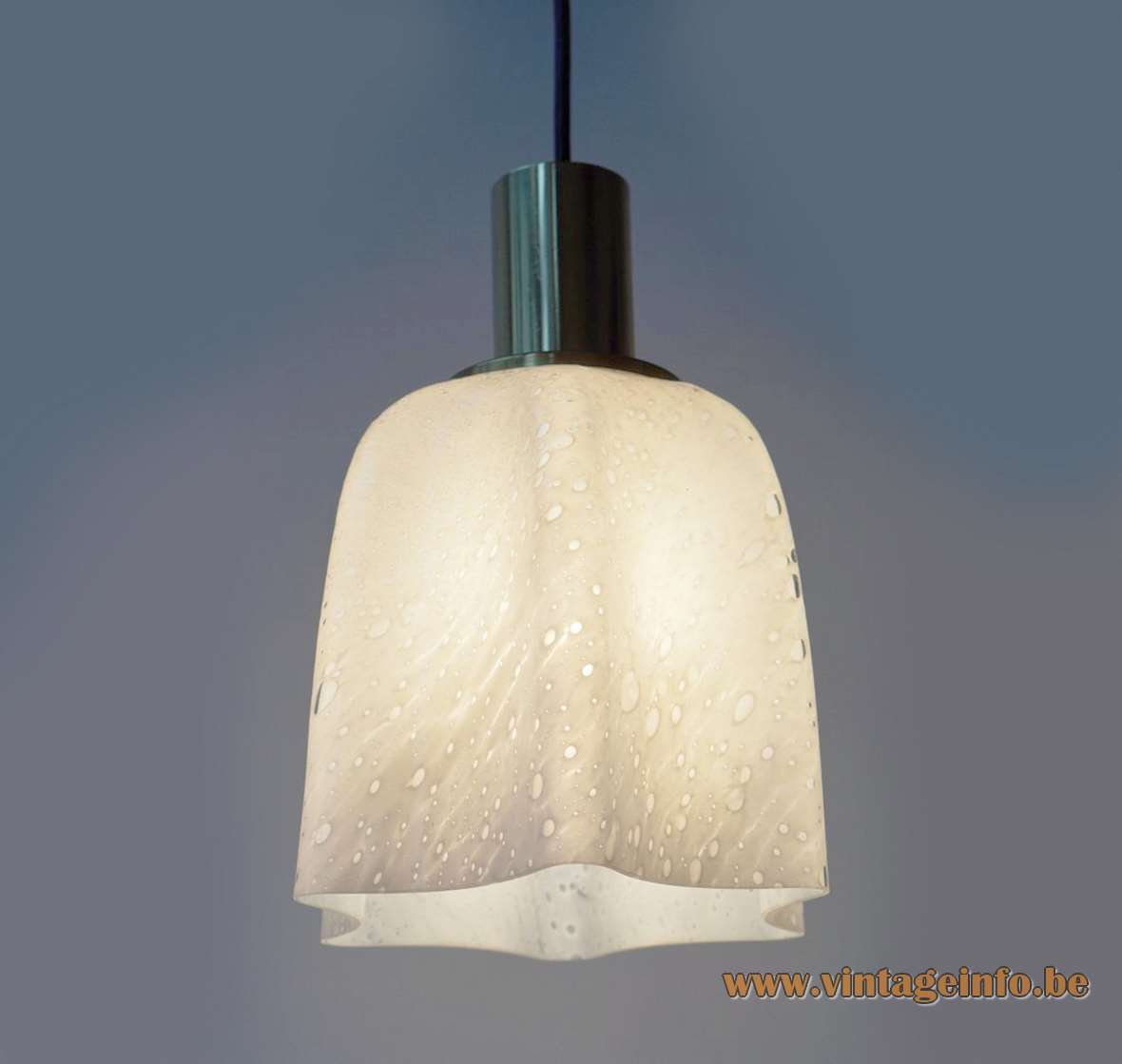 Doria 1970s fazzoletto handkerchief pendant lamp hand blown opal bubble glass brass Germany