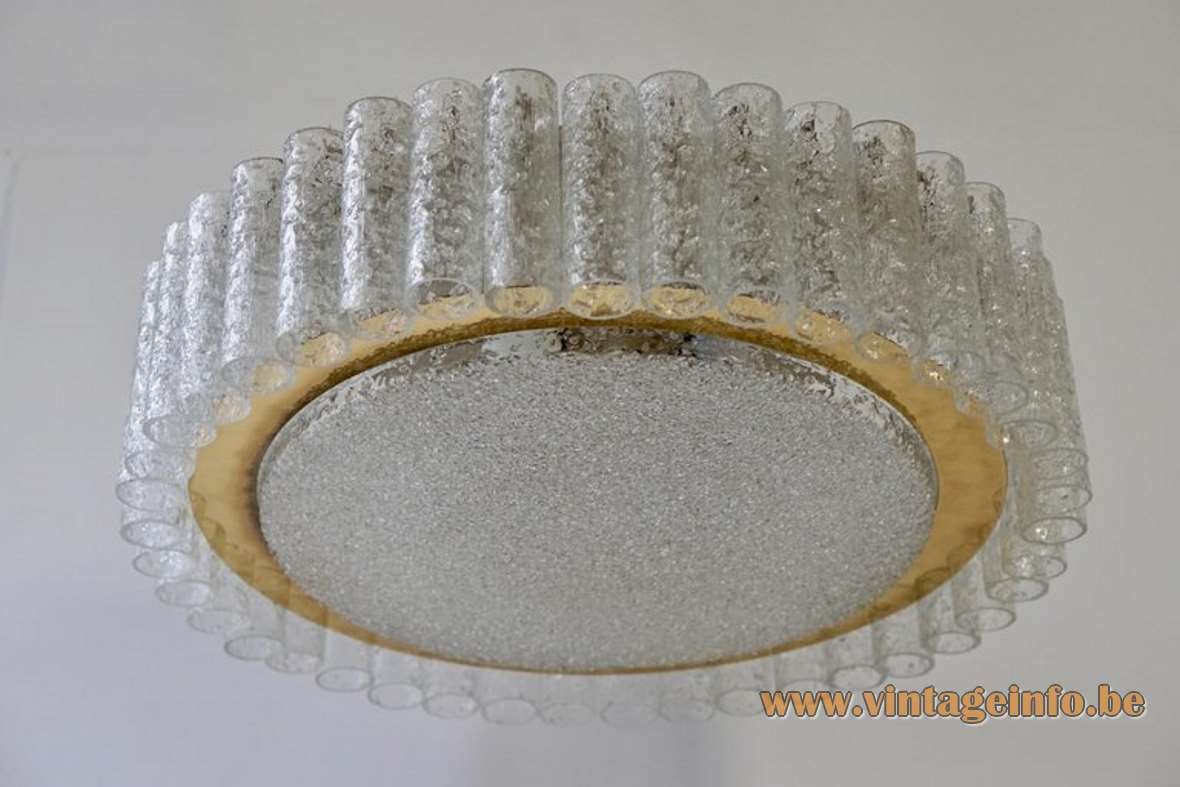 Doria swirled glass tubes round flush mount 1960s 1970s brass Germany hand blown