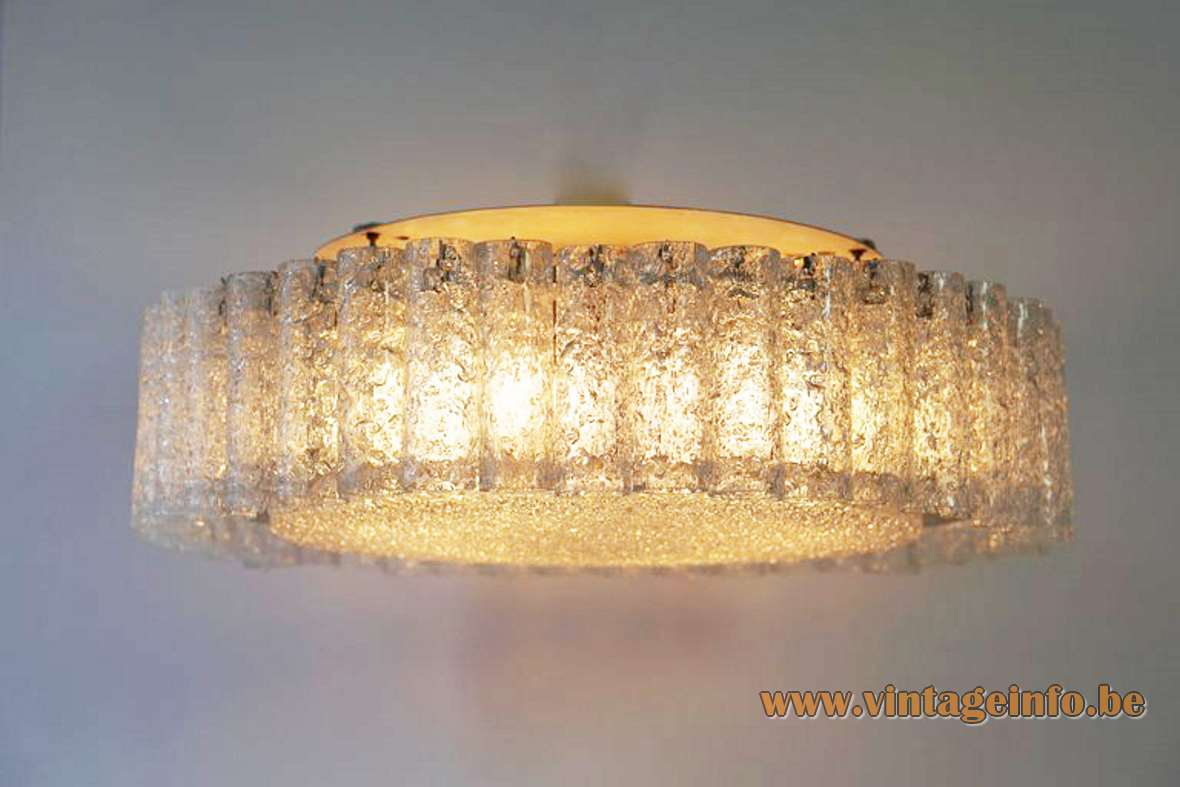DORIA glass tubes flush mount round light brass ring embossed glass big disc 1960s 1970s Germany