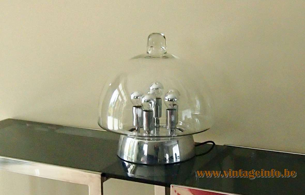 DORIA sputnik table lamp clear glass lampshade aluminium chrome base 6 light bulbs 1960s 1970s Germany