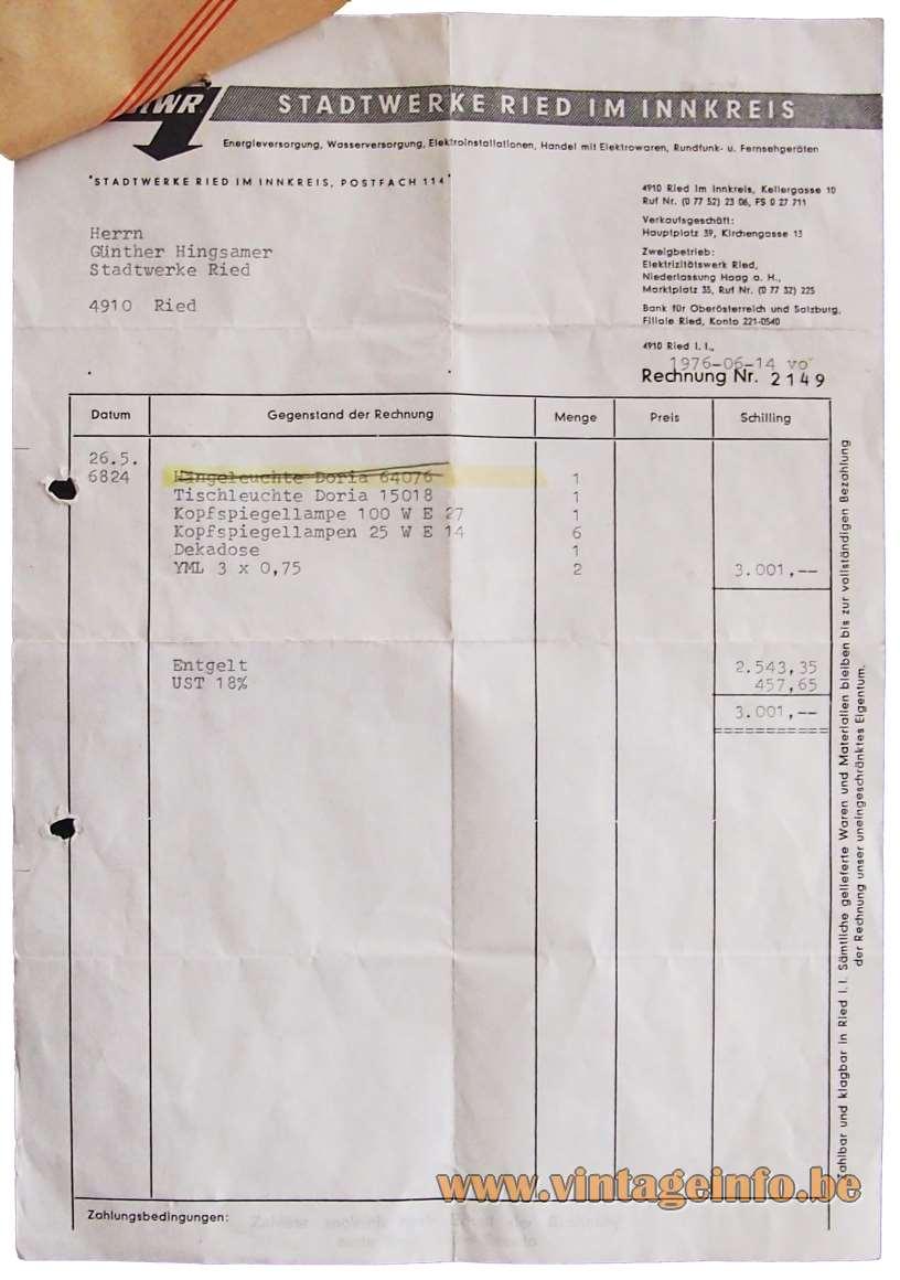 Doria Sputnik Table Lamp - invoice