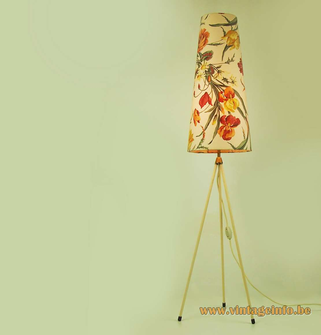 Floral tripod floor lamp big conical fabric lampshade white brass rods Aro Leuchte Germany 1950s 1960s