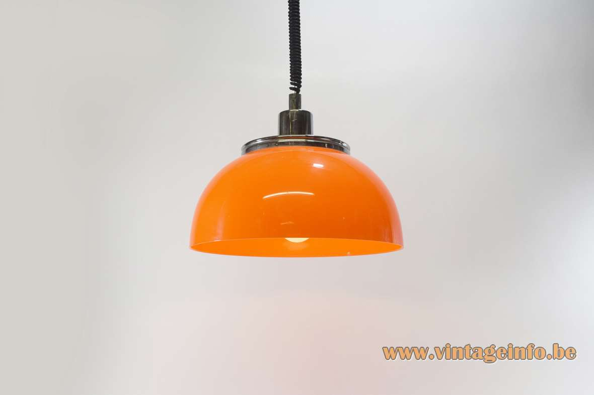 Harvey Guzzini Faro rise & fall pendant lamp chrome lid orange plastic acrylic lampshade 1970s Meblo iGuzzini