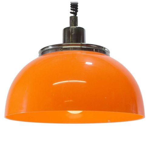 Harvey Guzzini Faro rise & fall acrylic pendant lamp chrome 1970s plastic E27 socket Mid-Century Modern MCM iGuzzini