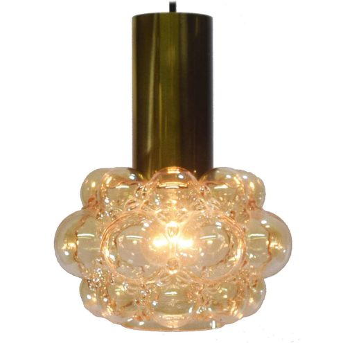 Helena Tynell bubble glass pendant lamp brass tube amber glass lampshade Glashütte Limburg 1960s 1970s design