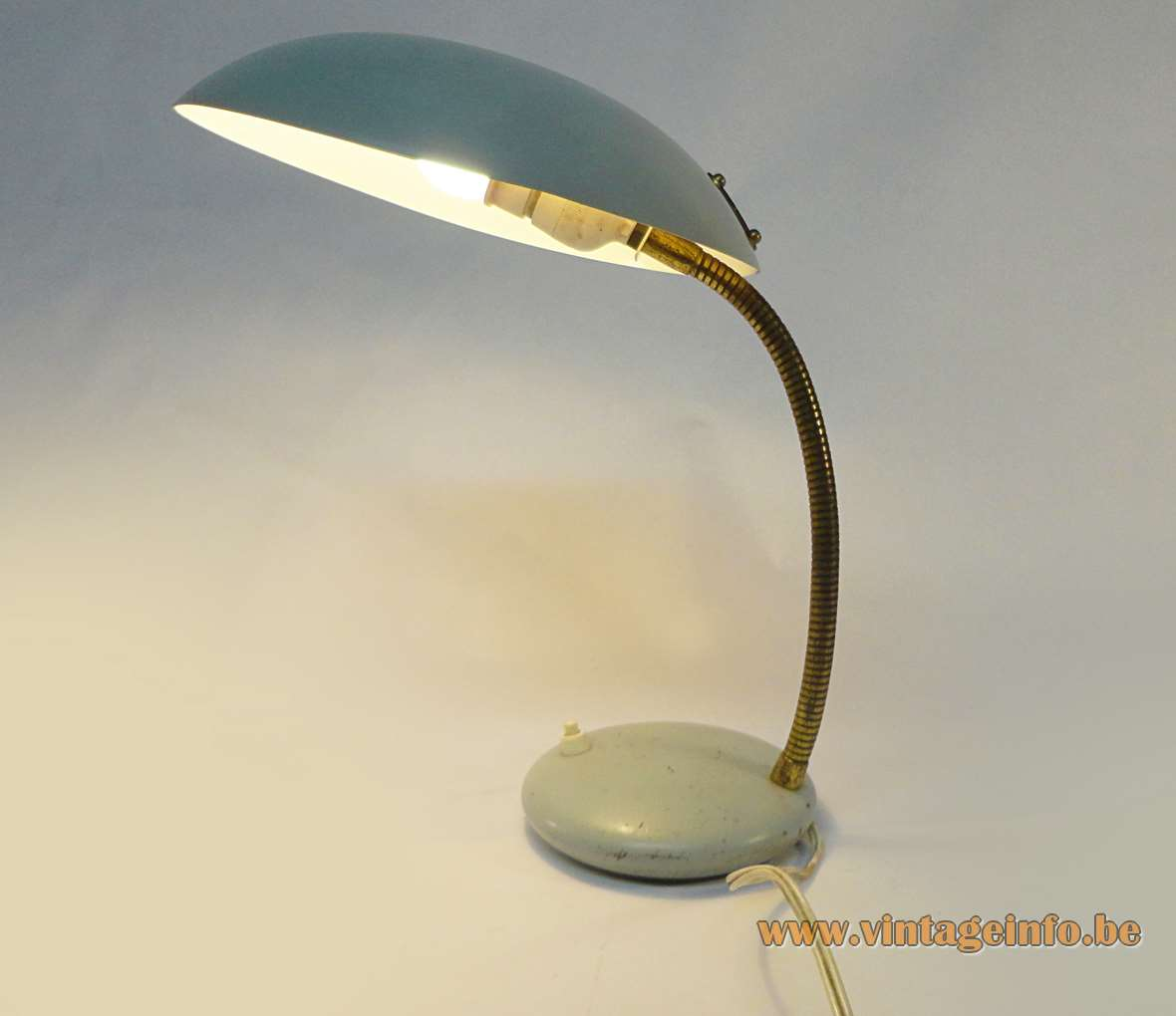 1960s desk lamp Louis Kalff Philips style UFO lampshade blue grey round base brass gooseneck Massive 1970s MCM Mid-Century Modern