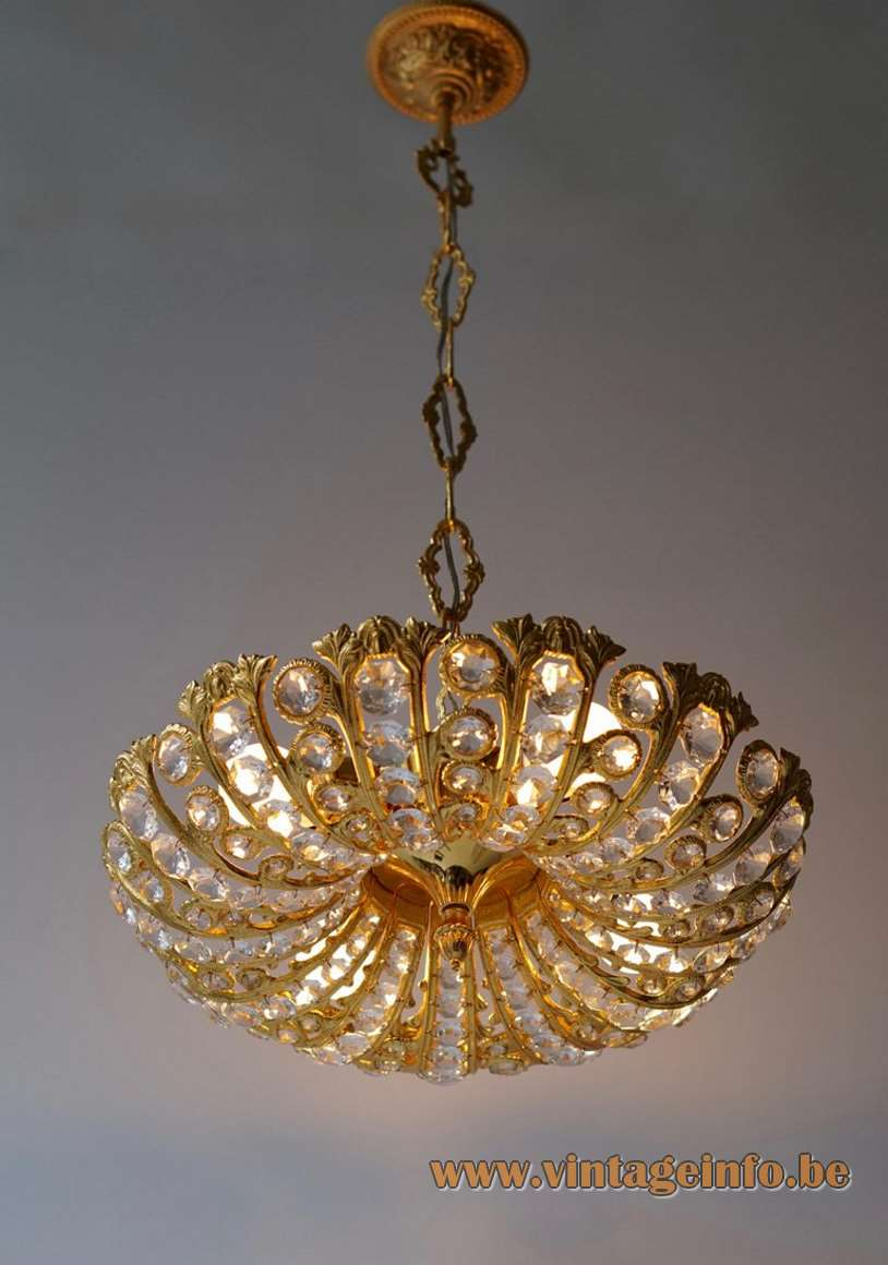 Palwa brass and crystal glass chandelier cut beads metal gilded circles chain 1970s 1980s Hollywood Regency Germany