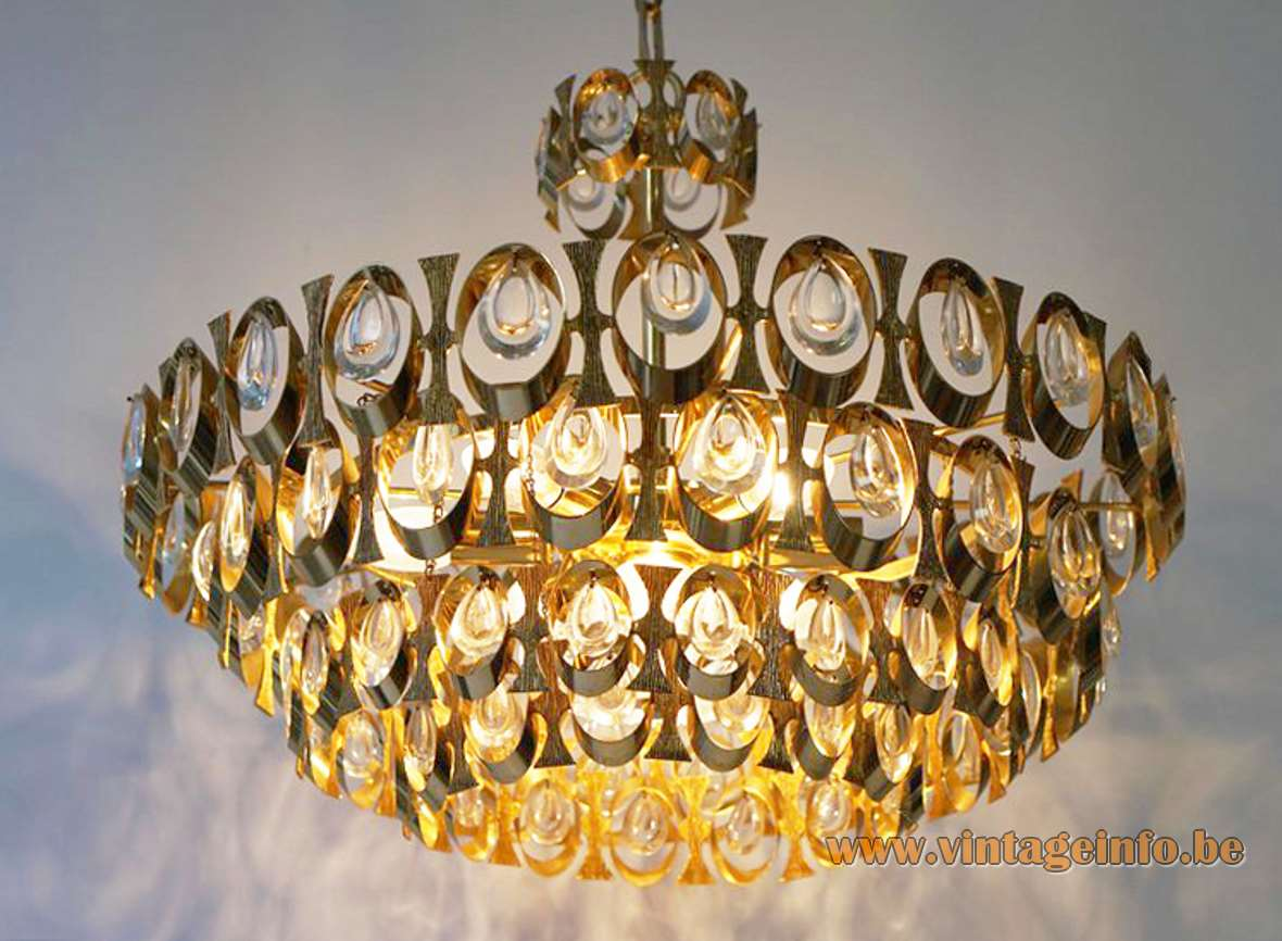 Palwa Brass And Glass Chandelier