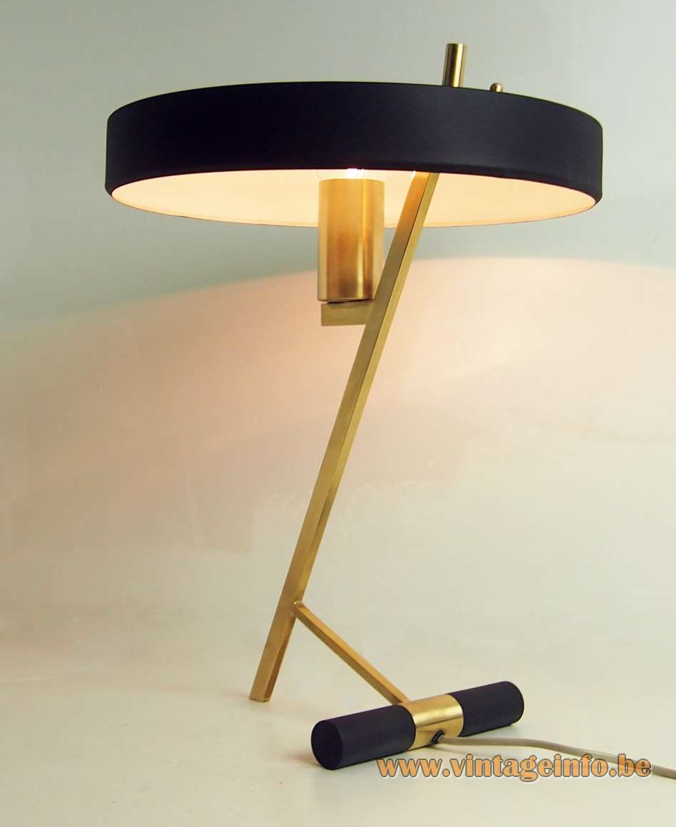 Philips Diplomat desk lamp Z lamp Louis Kalff 1960s 1970s brass rods mushroom UFO lampshade MCM