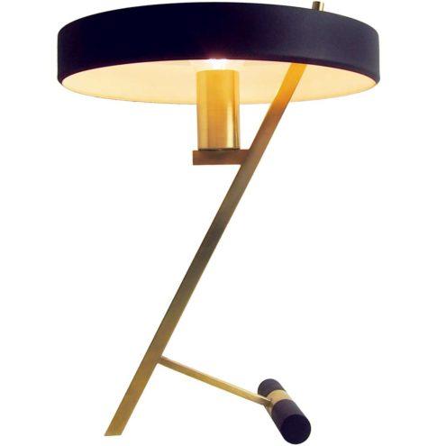 Philips Diplomat desk lamp Z design: Louis Kalff brass rods slats counterweight mushroom lampshade 1960s 1970s