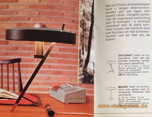 Philips Diplomat desk lamp, 1960s, 1970s, Louis Kalff - advertisement, publicity