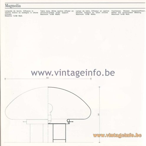 Quattrifolio Design Catalogue 1973 - Magnolia table lamp
