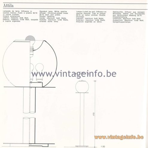 Quattrifolio Design Catalogue 1973 - Attila floor lamp