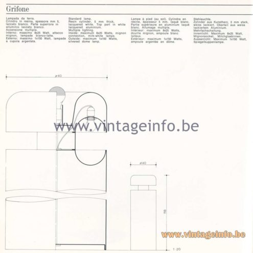 Quattrifolio Design Catalogue 1973 - Grifone floor lamp
