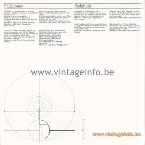 Quattrifolio Design Catalogue 1973 – Padacroma& Padalindapendant lamp