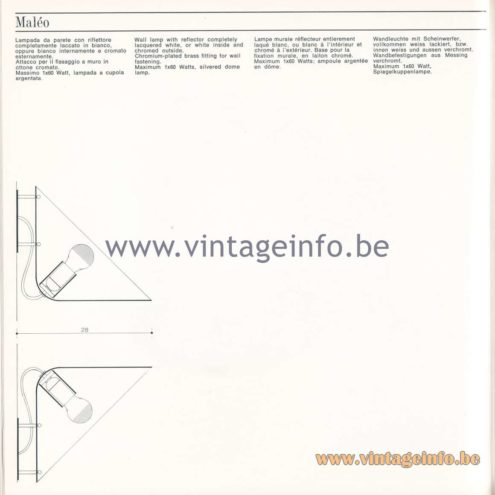 Quattrifolio Design Catalogue 1973 – Maleo wall lamp
