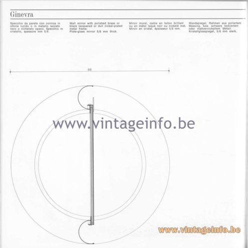 Quattrifolio Design Catalogue 1973 - Ginevra wall mirror