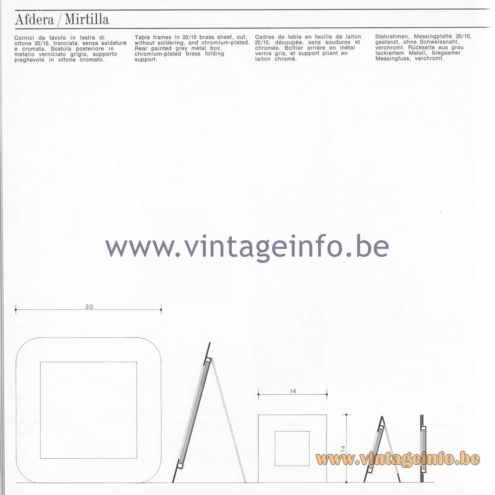 Quattrifolio Design Catalogue 1973 – Afdera & Mirtilla table picture frames
