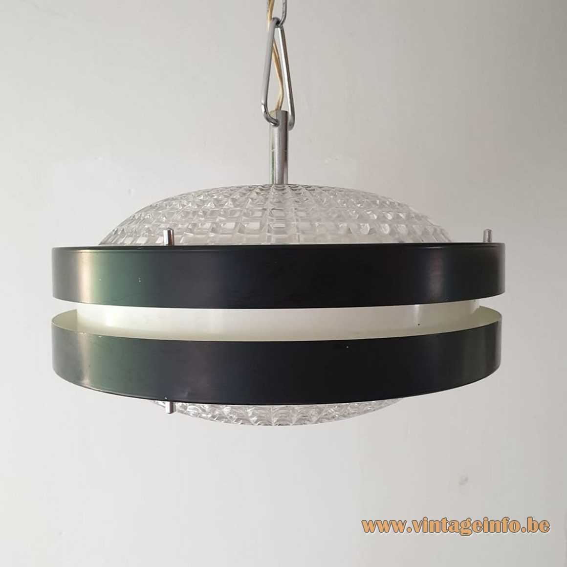 Raak B-1044 pendant lamp - Massive Belgium version/copy 1960s 1970s MCM crystal glass aluminium
