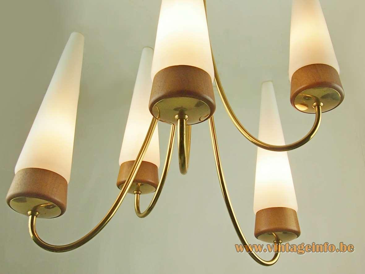 Rupert Nikoll conical chandelier 5 opal glass tubes rosewood curved brass rods Vienna Austria 1950s 1960s