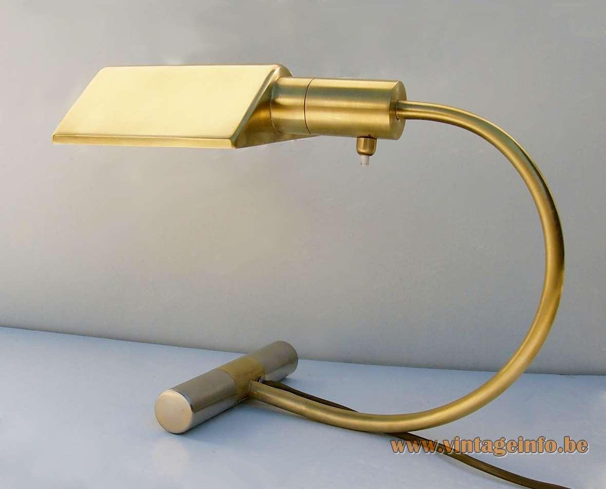 S.A. Boulanger brass desk lamp cylinder base curved rod triangular prism lampshade E27 socket MCM 1970s 1980s
