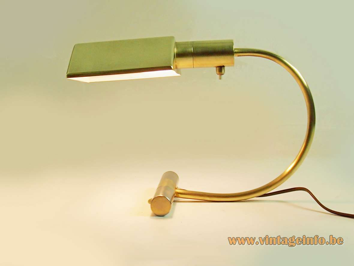 S.A. Boulanger brass desk lamp cylinder tube base curved rod triangular prism conical lampshade 1970s 1980s