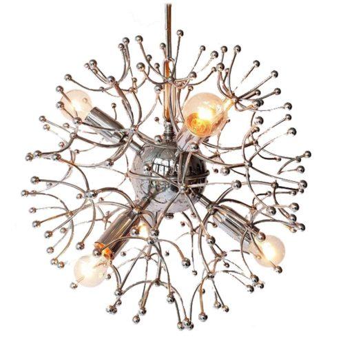 Gaetano Sciolari Chrome Sputnik Chandelier 6 light bulbs 1960s metal frame space age MCM