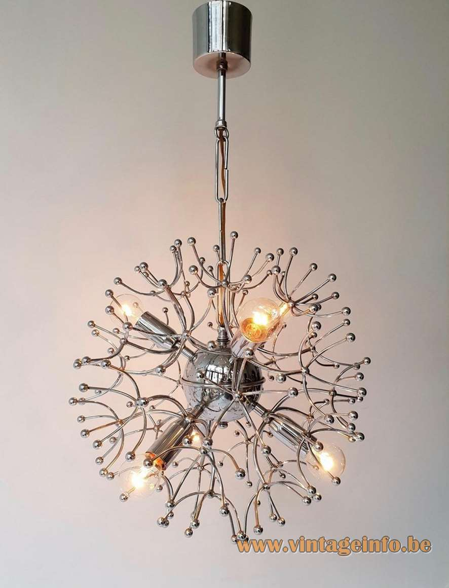 Gaetano Sciolari chrome Sputnik chandelier metal wire frame rods globe 6 sockets space age 1950s 1960s