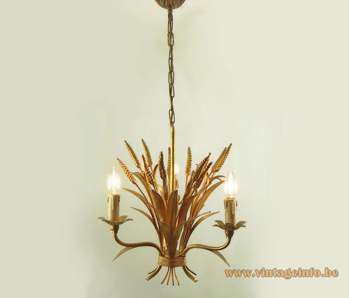 Sheaf of wheat chandelier gold painted metal corn 3 candle light bulbs chain ZiCOLi Hans Kögl