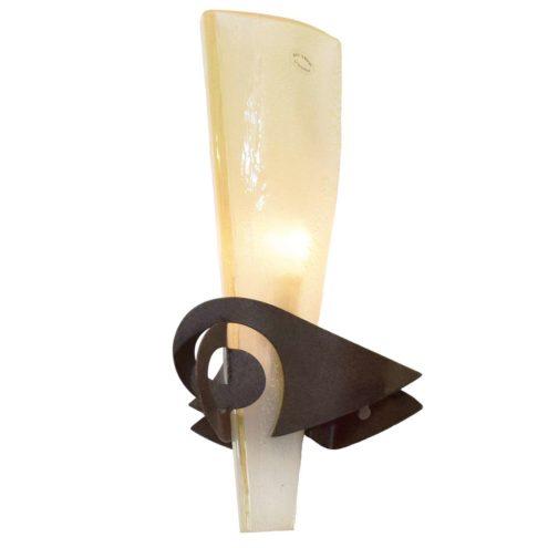 Terzani Phantom wall lamp Murano glass lampshade rusted iron 1986 Design: Jean-François Crochet B20 socket
