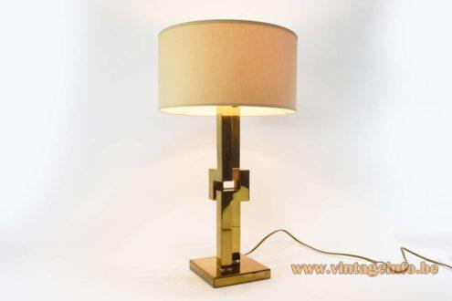 Touch-sensitive Romeo Rega brass table lamp geometric scyscraper style light square base E27 socket 1970s Mid-Century Modern MCM