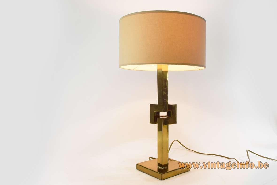 Touch-sensitive Romeo Rega brass table lamp geometric skyscraper square base & rods fabric lampshade 1970s