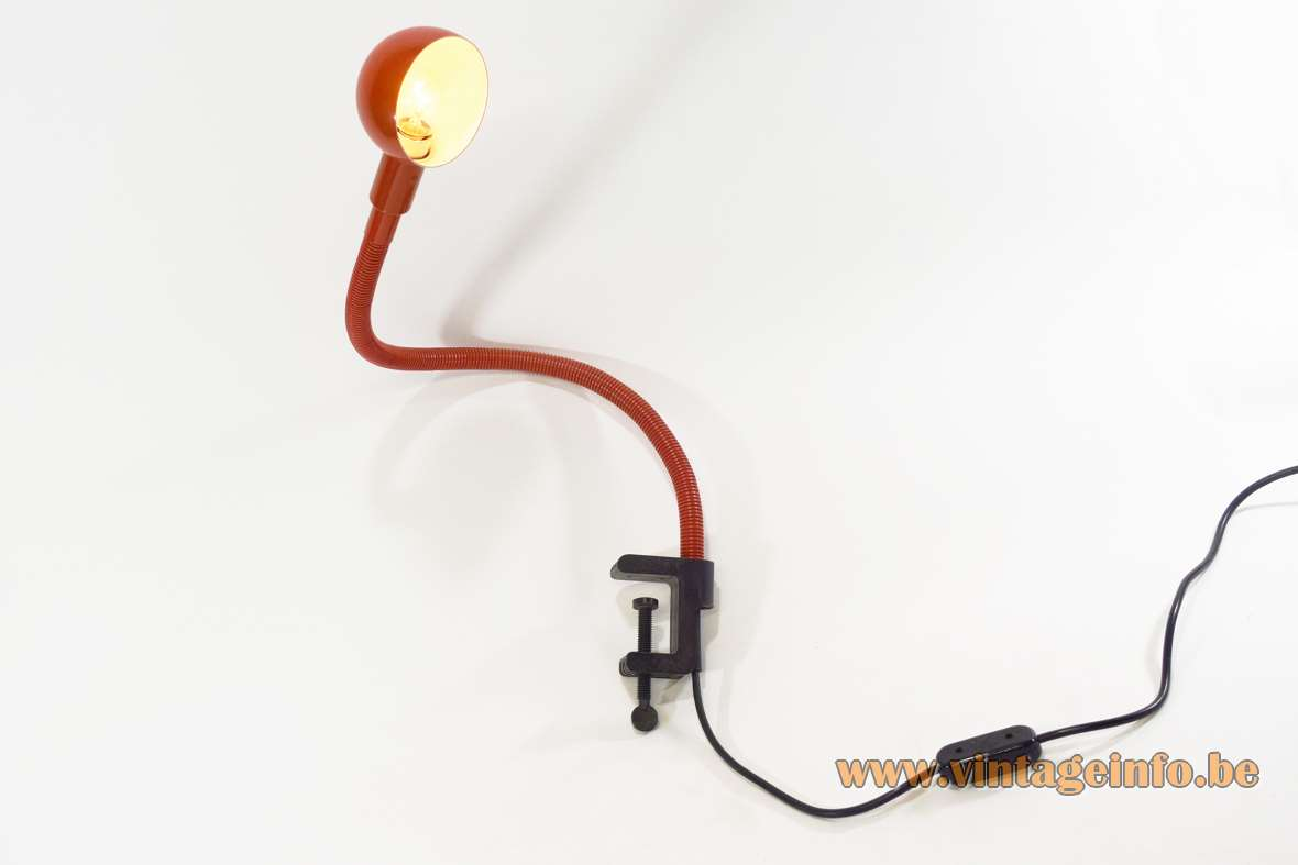 Valenti Hebi Clamp Lamp Design: Isao Hosoe 1969 Plastic PVC 1970s flexible tube MCM biography