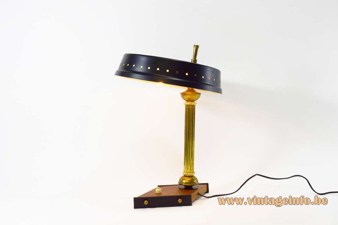 1950s Italian desk lamp diamond base mushroom lampshade ribbed brass rod design: Oscar Torlasco Lumi Italy