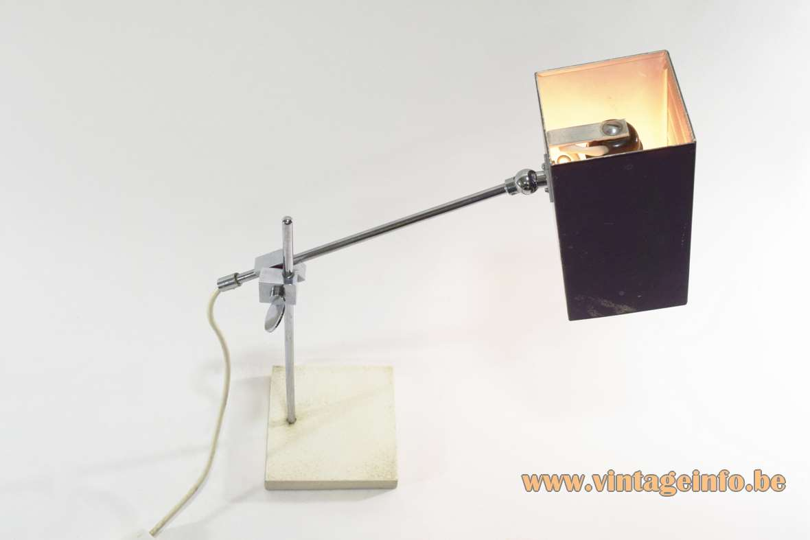 Bünte & Remmler Flamingo desk lamp black square beam perforated lampshade square white base chrome rods 1960s 1970s MCM