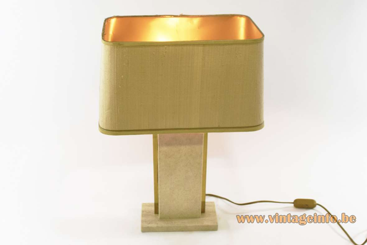 Camille Breesch travertine table lamp rectangular limestone marble base brass decoration fabric lampshade 1970s 1980s Belgium