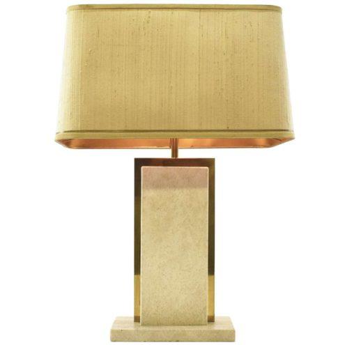Camille Breesch travertine table lamp rectangular limestone marble base brass decoration fabric lampshade 1970s 1980s Belgium