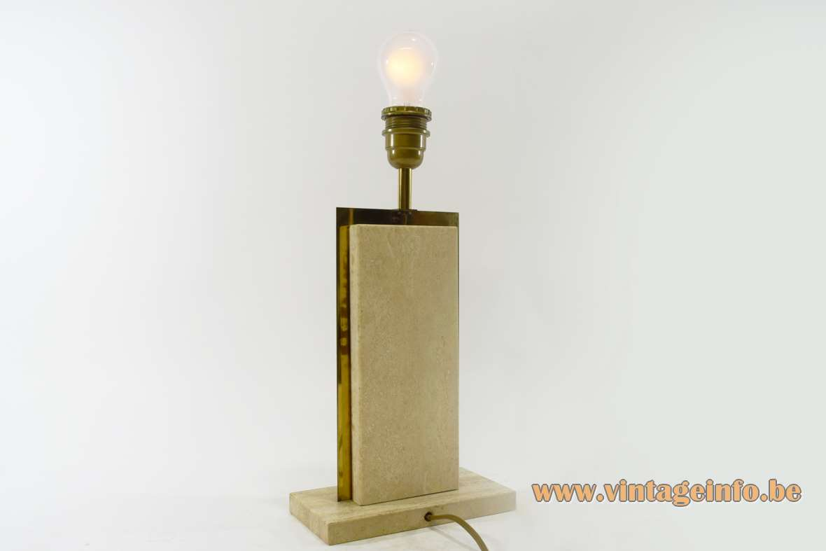 Camille Breesch travertine table lamp limestone marble brass 1970s Belgium Mid-Century Modern rectangular