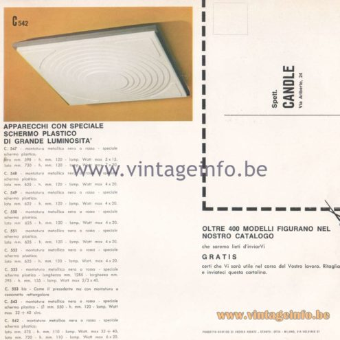 Candle 1970s Novita Lighting Catalogue - Appliances with special plastic screen of large brightness
