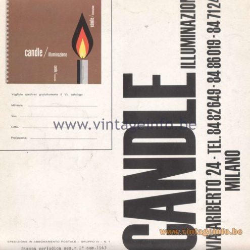 Candle 1970s Novita Lighting Catalogue - Address - Info