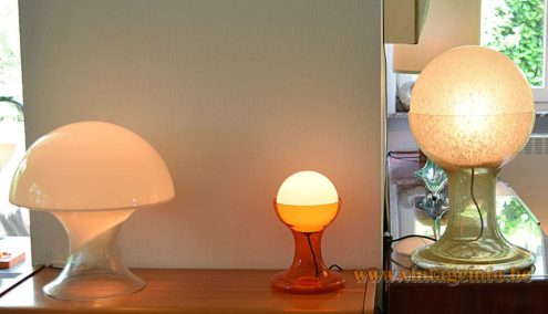 Carlo Nason AV Mazzega LT 216 Table Lamps 1968 design big and small together 1960s 1970s MCM Mid-Century Modern