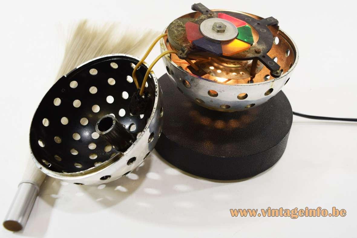 Cima fibre optic globe table lamp fibreglass tube cast iron base perforated ball 1960s 1970s parts