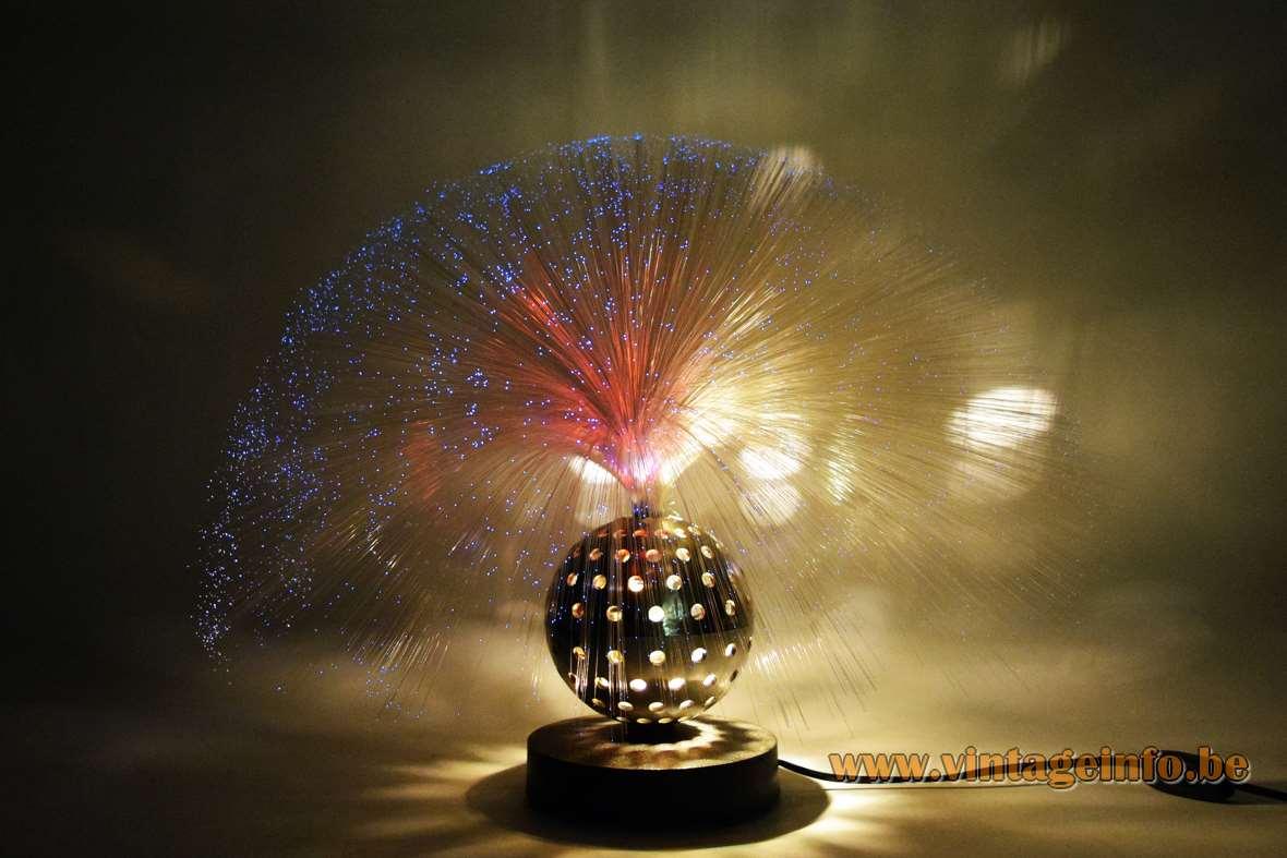 Cima fibre optic globe table lamp fibreglass tube cast iron base perforated ball 1960s 1970s Germany