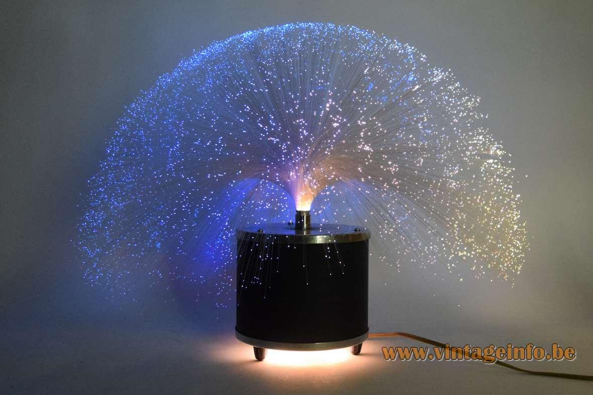 Cima fibre optic table lamp fibreglass wires tube round black metal base & chrome 1960s 1970s Germany