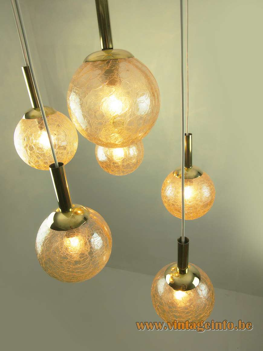 Doria 6 crackle amber glass globes cascading chandelier 1970s chrome brass Germany